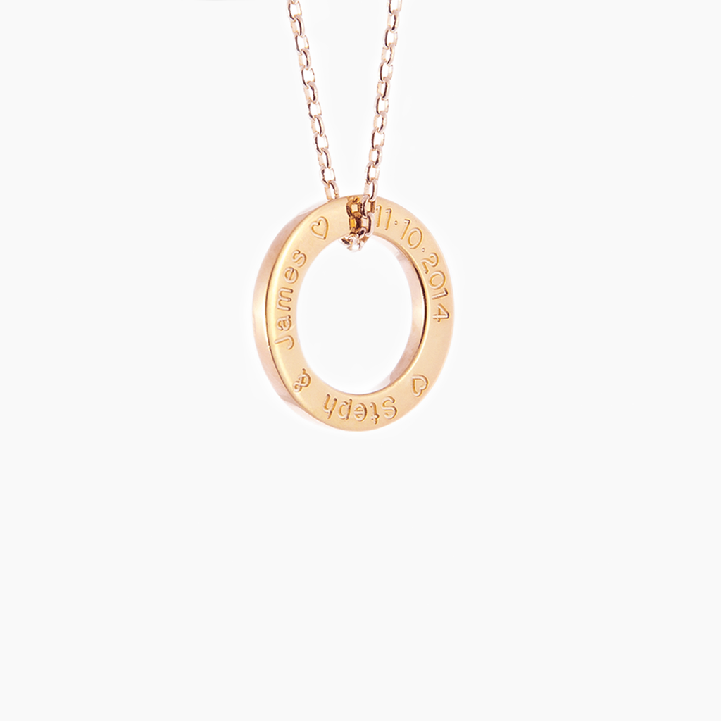 Rose gold loop hand crafted and engraved with necklace