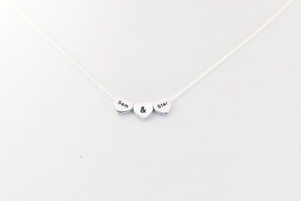Trifecta Trio Silver LoveHeart Necklace