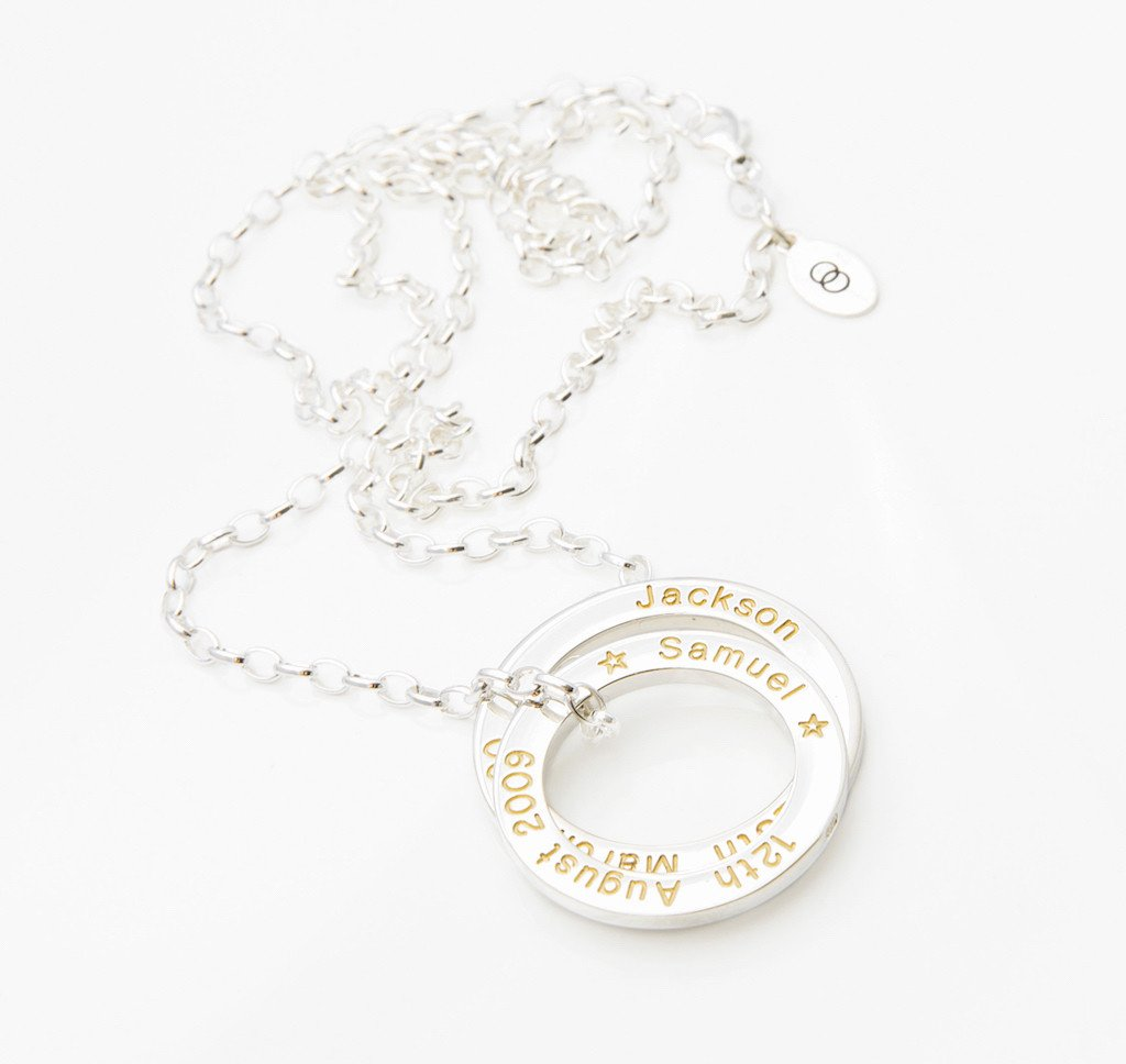 Gift jewellery for Mum with personalised writing
