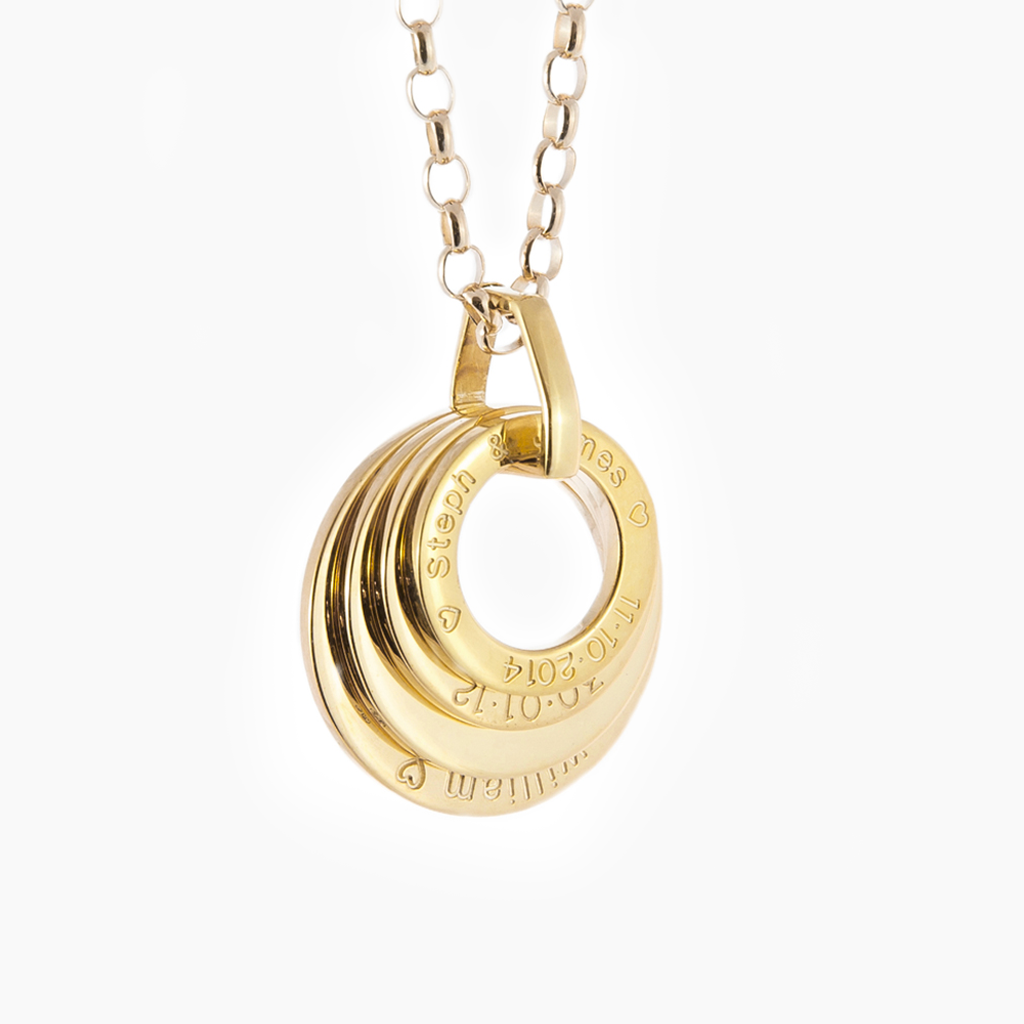 Four yellow gold hoops elegantly engraved and personalised unique gift