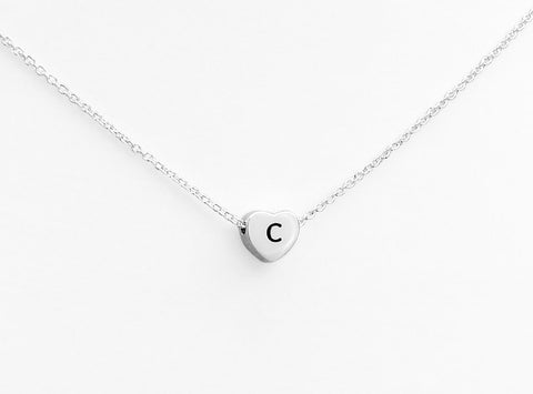 Sterling silver heart engraved with letter