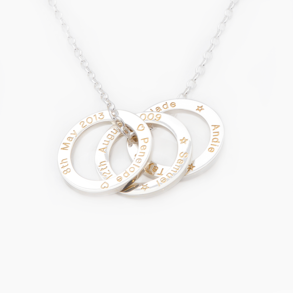 Sterling silver 3 loop memory pendant with gold fill engraving