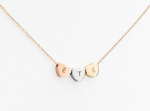 Rose gold white gold and yellow gold hearts jewellery
