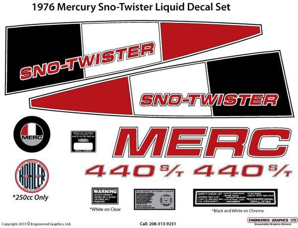 1976 Mercury Sno Twister Liquid Decal Set
