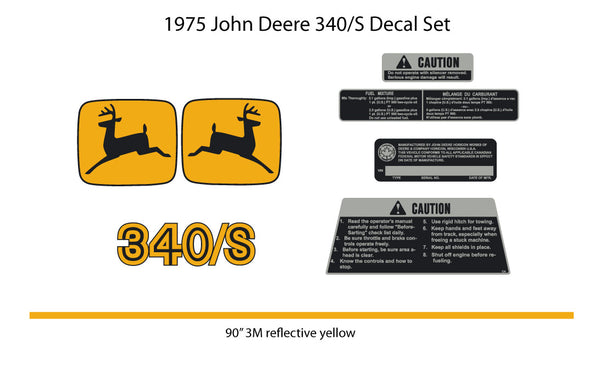 1975 John Deere 340/S Decal Set