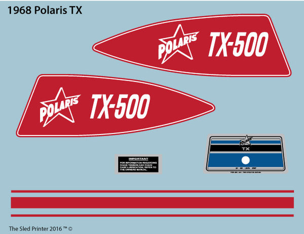 1968 Polaris TX Decal Set