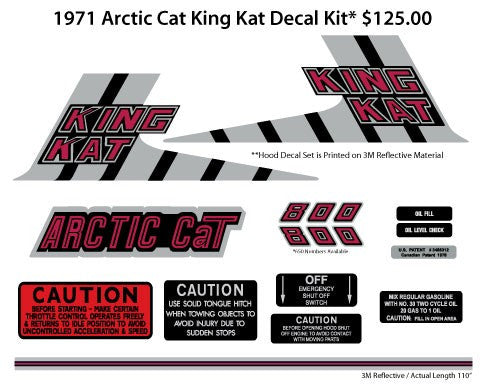 1971 Arctic Cat King Kat Decal Kit