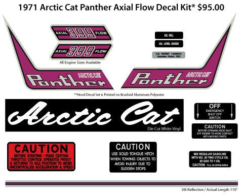 1971 Arctic Cat Panther Axial Flow Decal Kit