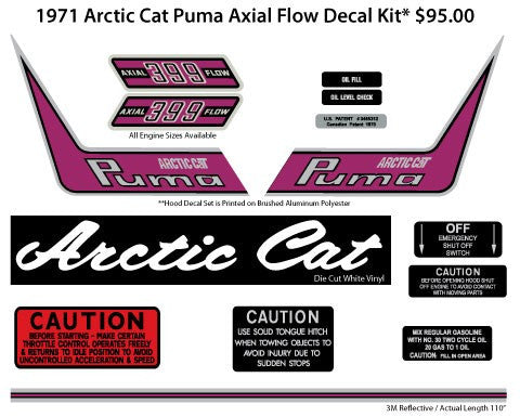 1971 Arctic Cat Puma Axial Flow Decal Kit