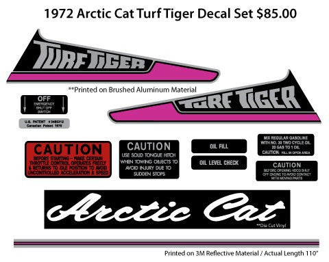 1972 Arctic Cat Turf Tiger Decal Set