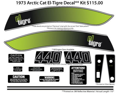 1973 Arctic Cat El Tigre Decal Set