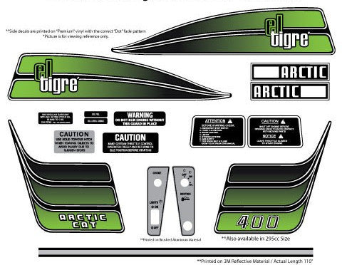 1974 Arctic Cat El-Tigre 295/400 Decal Set