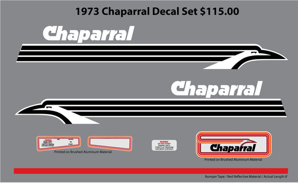 1973 Chaparral Decal (White / Black) Set