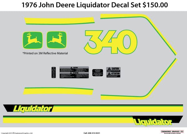 1976 John Deere Liquidator Decal Set