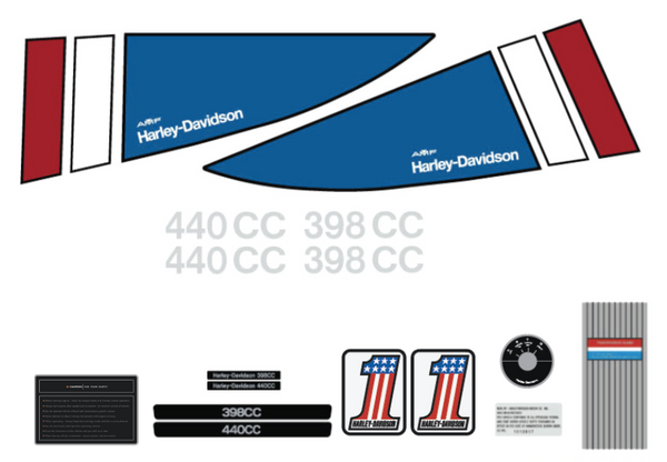 1974-1975 Harley Davidson Decal Set white hood