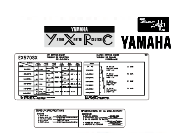 Yamaha 1993 Exciter II SX manufacture decals