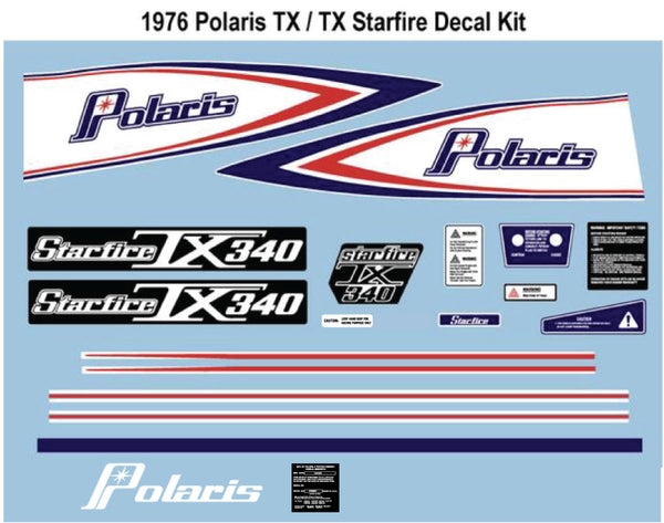 1976 Polaris TX/TX Starfire Decal Set