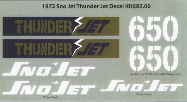 1972 Sno-Jet Thunder Jet Decal Set