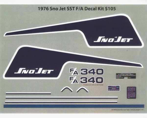 1976 Sno-Jet SST F/A Decal Kit