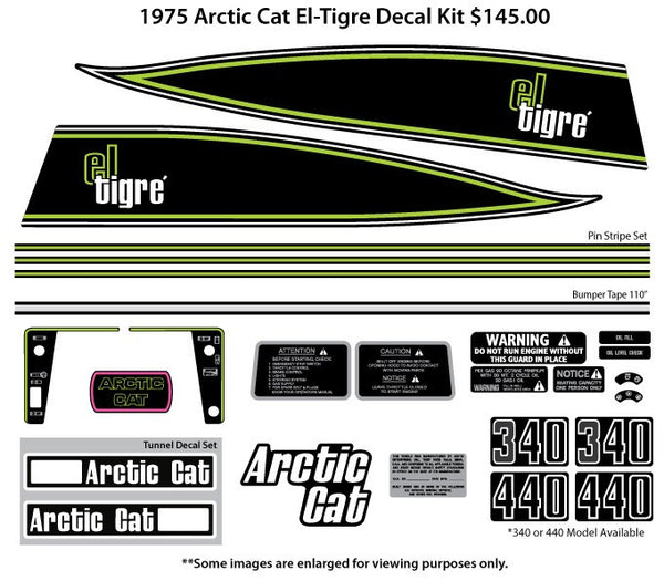 1975 Arctic Cat El-Tigre Decal Set