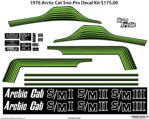 1976 Arctic Cat Z Sno Pro Decal Set