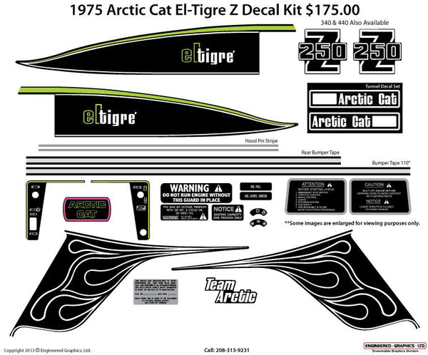 1975 Arctic Cat El-Tigre Z Decal Set