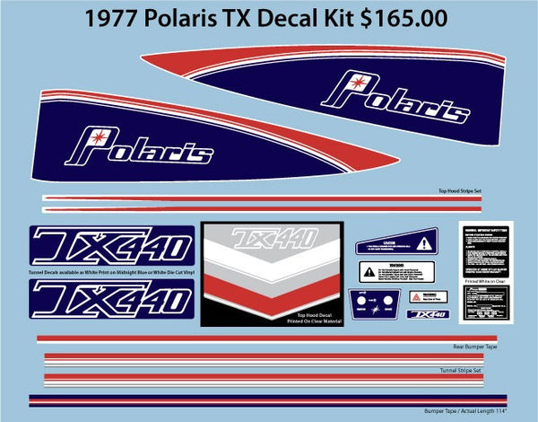 1977 Polaris TX Decal Set