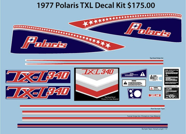 1977 Polaris TX-L 340 Decal Set