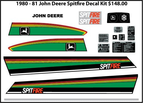 1980 John Deere Spitfire Decal Set