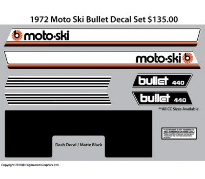 1972 Moto-Ski Bullet Decal Set