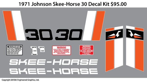 1971 Johnson Skee Horse 30 Decal Set