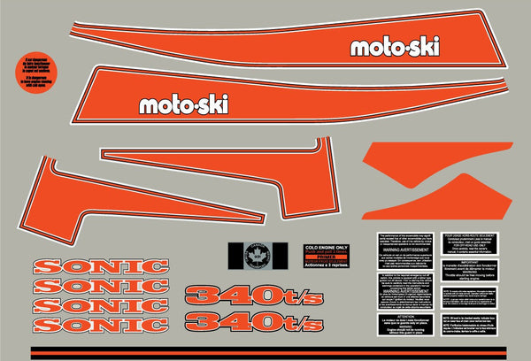 1975 Moto-Ski Sonic Decal Set