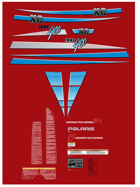 1991 Polaris Indy 400 XC Decal Set