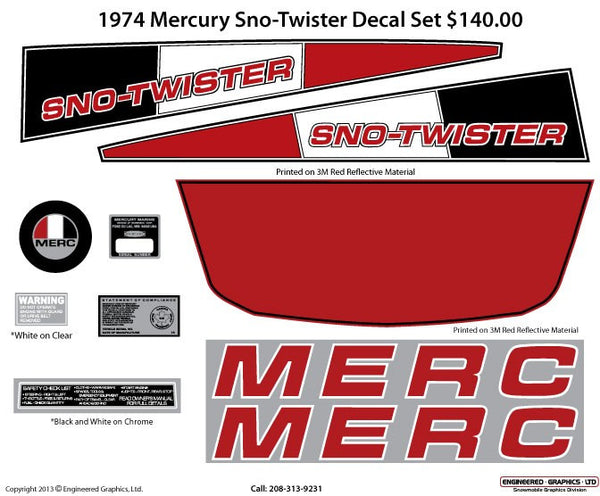 1974 Mercury Sno Twister Decal Set