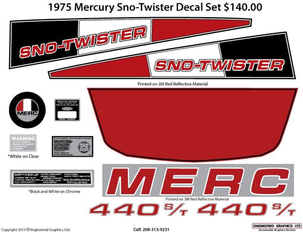 1975 Mercury Sno Twister Decal Set