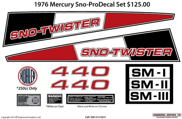 1976 Mercury Sno-Pro Decal Set