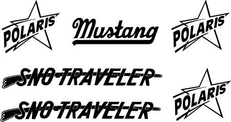 1966 Polaris Sno-Traveler / Mustang Custom 900 Decal Set