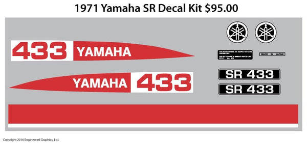 1971 Yamaha SR Decal Set