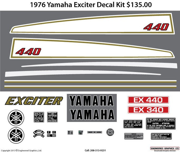 1976 Yamaha Exciter Decal Set