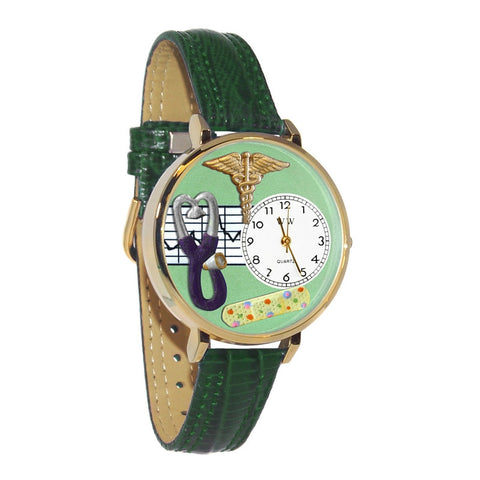 Green Emerald Movement Watch for Nurses (Gold Rim)