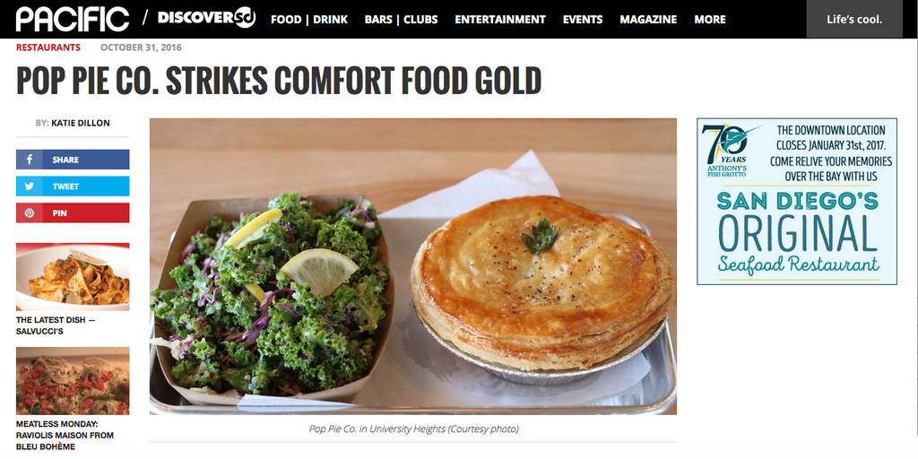 Pacific / Discover SD Magazine: Pop Pie Co. Strikes Comfort Food Gold