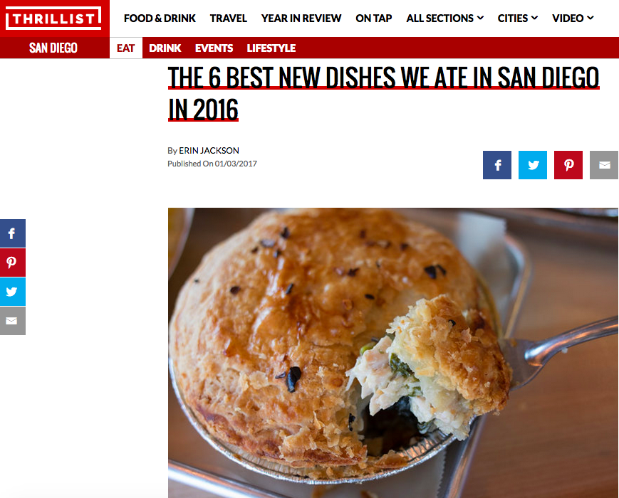 Thrillist: The 6 Best New Dishes We Ate in San Diego in 2016