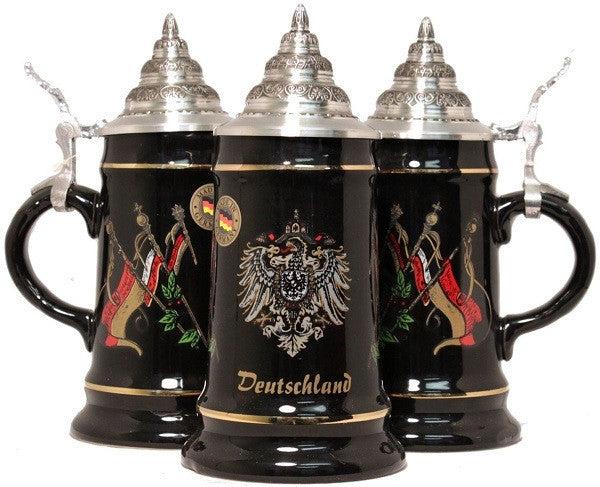 Black Deutschland & Flags Beer Stein 1/4 Liter