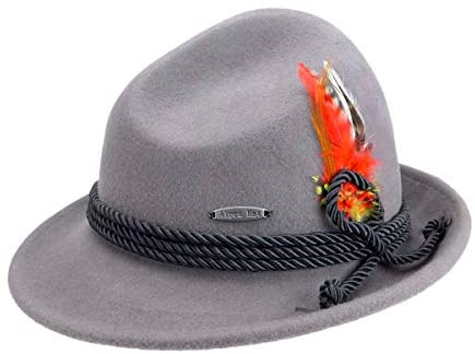 Traditional Bavarian German Wool Fedora Hat with Rope & Deluxe Feather by E.H.G. | Hat for Men and Hat for Women