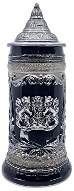 Ceramic Stein Mug with Bayern Germany Coat of Arms Engraved Metal Medallion and Ornate Metal Lid