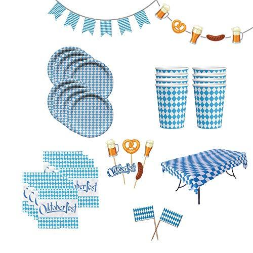 Deluxe All-in-One Oktoberfest Party Pack Bundle with Bavarian Themed Plastic Deli Tableclothe, Paper Plates, Cups, Napkins, Toothpicks & Banners
