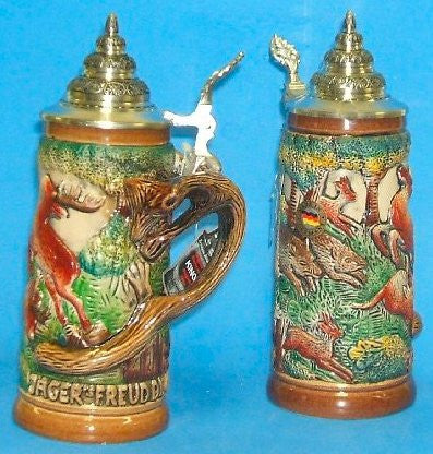 Hunter German Beer Stein with Fox Handle 0.4 Liter