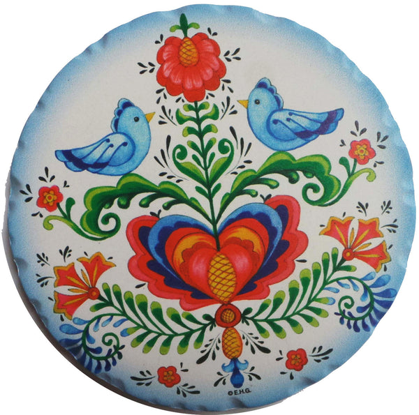 Ceramic Coaster Set Gift- Rosemaling Lovebirds