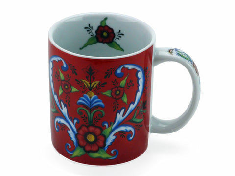 Ceramic Coffee Red Rosemaling Cup