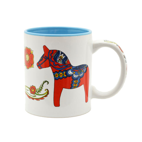 Red & Blue Dala Horse Ceramic Coffee Mug